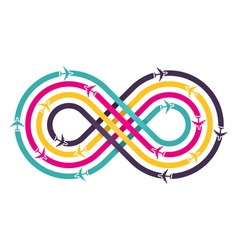 Colorful infinity sign with airplanes vector