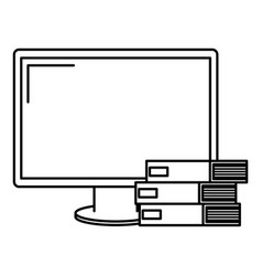 computer display with pile books vector image