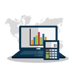 Computer profit and money design vector