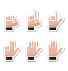 Counting hand signs as labels - isolated vector image