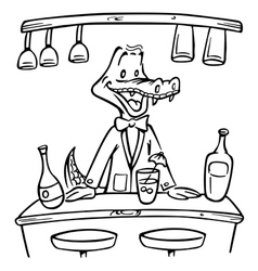 Crocodile bartender outline vector