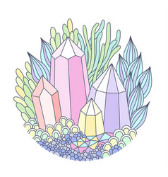 Crystals and plants vector