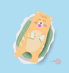 cute baby cat in basket cartoon vector image