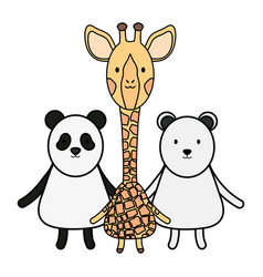 cute group animals childish characters vector image