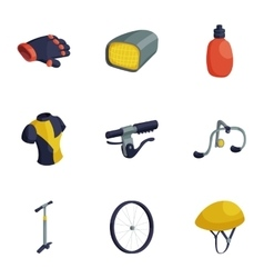 Cycling accessories icons set cartoon style vector