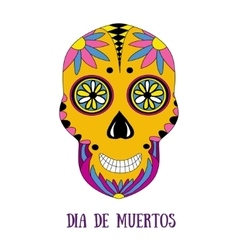 Day of The Dead sugar skull with floral ornament vector