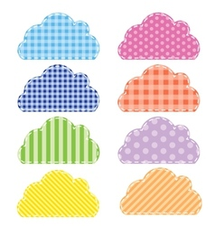 Different colored speech bubbles in clouds style vector image vector image