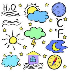 Doodle of weather element set vector