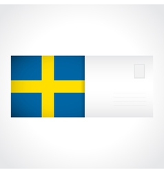Envelope with Swedish flag card vector image