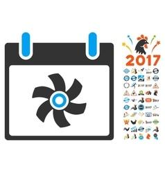 Fan Calendar Day Flat Icon With Bonus vector