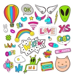 Fashion patches elements with alien speech vector image