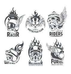 Fiery motorcycle skull helmet logotypes vector