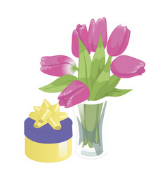 flower vase and a box with a gift flower vase vector image