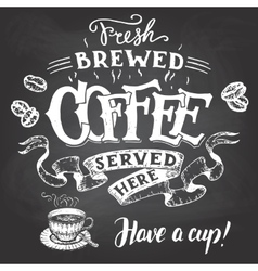 Fresh brewed coffee served here hand lettering vector