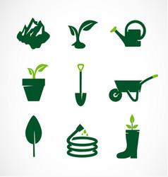 gardening icon set garden tools vector image