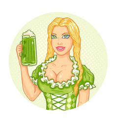 girl and beer for patricks day vector image vector image