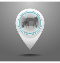 Glossy horse icon vector