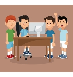 Group friends gamers happy online with laptop vector