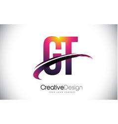 Gt g t purple letter logo with swoosh design vector