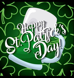Happy st patricks day card beer glass and clover vector