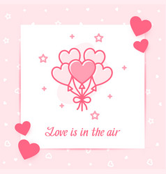 Heart ballons valentine card love text icon vector