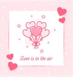 Heart balloons valentine card love text icon vector