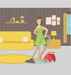 housewife with vacuum cleaner young woman vector image