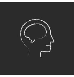 Human head with brain icon drawn in chalk vector image