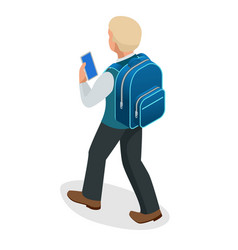 isometric schoolboy goes with a backpack and looks vector image