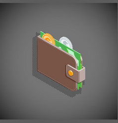isometric wallet with money vector image