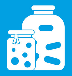 Jars with pickled vegetables and jam icon white vector