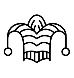jester fool hat icon outline style vector image