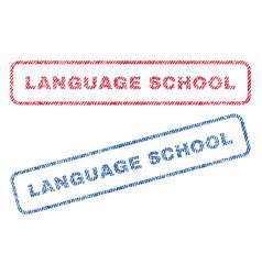 Language school textile stamps vector