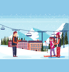 man taking photo skiers couple ski resort hotel vector image