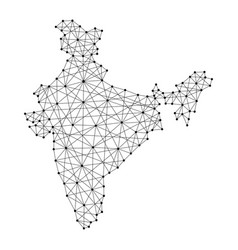 map of india from polygonal black lines and dots vector image