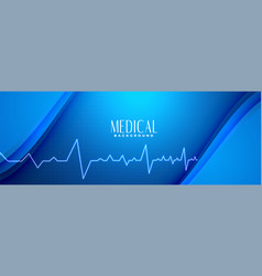 Medical science blue banner with heartbeat line vector