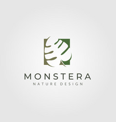 Monstera deliciosa plant logo symbol design vector