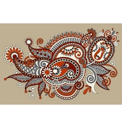 original digital draw line art ornate flower vector image