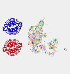 Puzzle denmark map and grunge assembled and vector