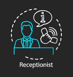 Receptionist chalk icon secretary manager vector