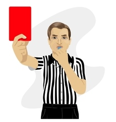 Referee showing red card warning blowing whistle vector