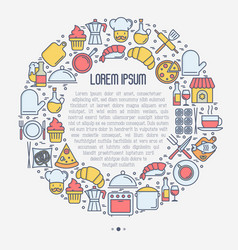 restaurant concept in circle with thin line icons vector image