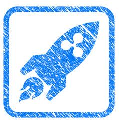 Ripple rocket framed stamp vector