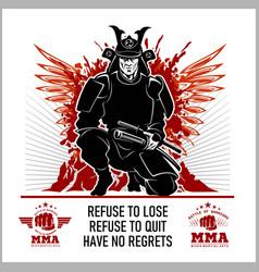 Samurai warrior mma emblems vector