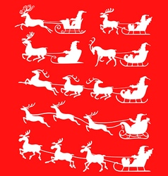 santa set snow red vector image