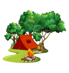 Scene with red tent in woods vector