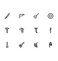 set of 12 editable instrument outline icons vector image