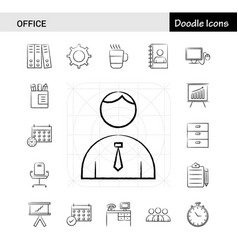 Set of 17 office hand-drawn icon set vector