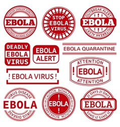 Set of red stamp with Ebola concept text on white vector