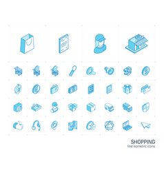 shopping isometric line icons 3d vector image